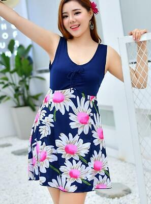 Woman U-neck SwimDRESS padded bra FLORAL wave printed Swimwear sleeveless 1211
