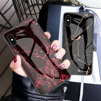 Marble Pattern Tempered Glass Back Hard Case Cover For iPhone XS Max XR X 8 6 7+