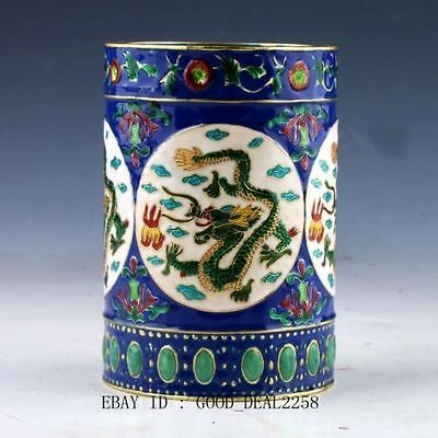 Chinese Cloisonne Hand-painted Flower Brush Pots Qing Dynasty Mark   d01
