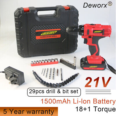 21V Rechargeable Li-on Lithium Cordless Drill Driver Screwdriver Tool +Light