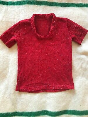 Vintage Hand Knit Red Short Sleeve Top T-Shirt S/M