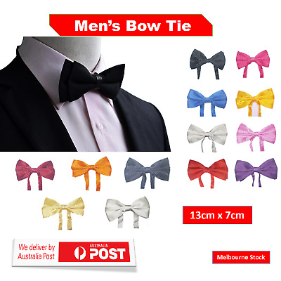 Mens Bow Tie Silk Satin Plain Solid Tuxedo Men's Pretied Bowtie Necktie Ties AU