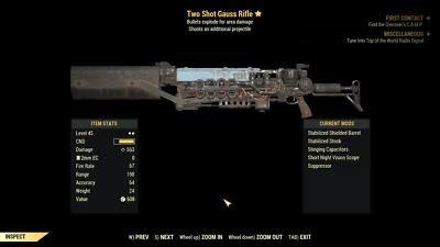 Fallout 76 Two Shot Explosive GAUSS RIFLE! MAX LEVEL, PC