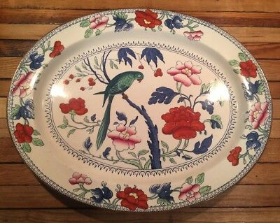 BOOTHS SILICON CHINA ENGLAND Tropical Parrot Large Serving Platter Bird Floral