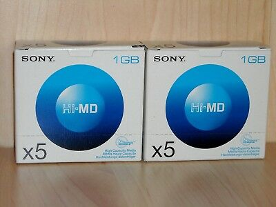 Sony 1GB Hi-MD Recordable Minidisc HMD1GA * Lot of 10 (2x 5-pack) * New & Sealed