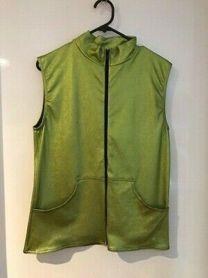 A wish come true 13109 Hush small adult green zip up sleeveless top w/ pockets