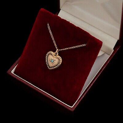 "Antique Vintage Nouveau 14k Gold Filled GF Heart ""EJ"" Puffy Sweetheart Pendant"