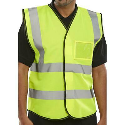 BSeen High Visibility ID Vest En20471 Large Saturn Yellow Ref BD108SYL [Pack 10]