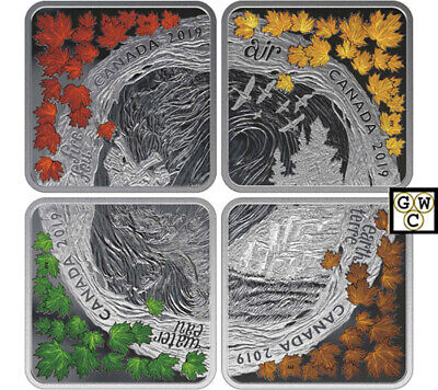 2019'The Elements' Set of 4 Square-Shaped Colorized Fine Silver Coins Set(18715)
