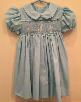 Spring EASTER EMBROIDERED Bunnies Smocked Girl Dress SIZE 2  See measurements