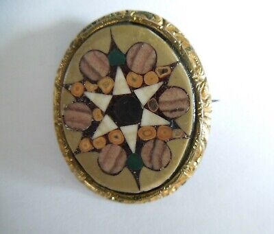Antique Pietra Dura, Mosaic Brooch, Grand Tour Souvenir