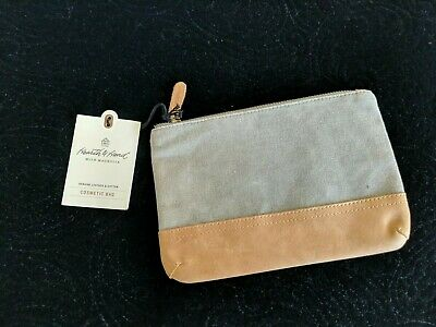 7242762f1f Hearth   Hand with Magnolia Canvas   Leather Cosmetic Bag gray brown Target  NWT