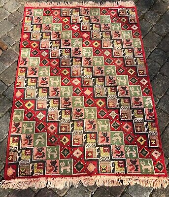 "VINTAGE~FOLK ART~AREA RUG~CARPET~GEOMETRIC DIAMOND ANIMAL BLOCKS~ 45""x66"""