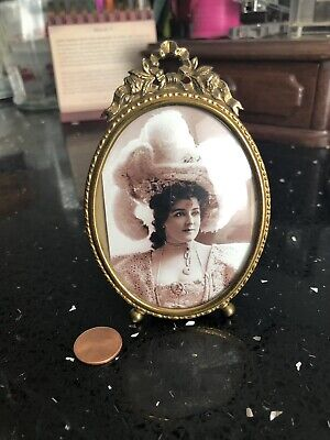 Antique Vintage Easel back Oval gold Brass picture frame with Bow