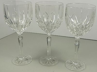 Set of Three Elegant Lead Crystal Marquis Wine Goblets / Glasses By Waterford