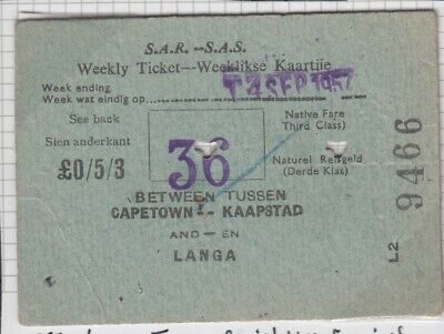 South Africa 1957 Weekly Ticket Railway History J4556