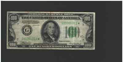 1934 $100 One Hundred *star* Frn Federal Reserve Note Scarce Nt0267