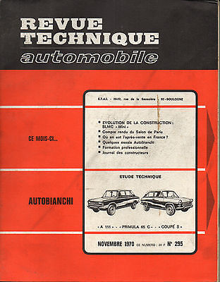 RTA revue technique automobile n° 295 AUTOBIANCHI A111 PRIMULA 65 C COUPE S 1970