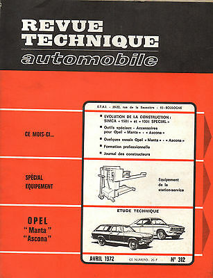 RTA revue technique automobile n° 312 OPEL MANTA ASCONA 1972