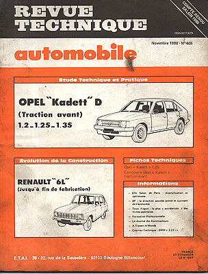 RTA revue technique automobile N° 405 OPEL KADETT D 1.2 1.3 S