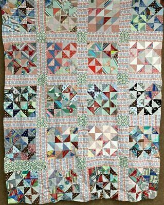 Farmhouse PA Vintage Broken Dishes QUILT Top Feedsack Prints