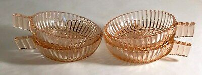 4 Anchor Hocking Pink Queen Mary One Handled Bowls