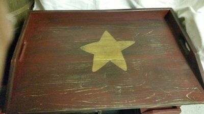 Primitive Stove Cover Noodle Board Hand Crafted Burgundy w/ Gold Single Star