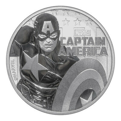 2019 Tuvalu 1oz Silver $1 Marvel Series Captain America Coin BU