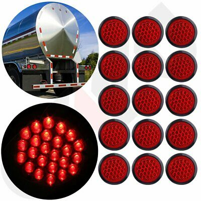 """15x Red 24LED Stop Turn Tail Brake 4"""" Round Lights for Kenworth Peterbilt Rubber"""