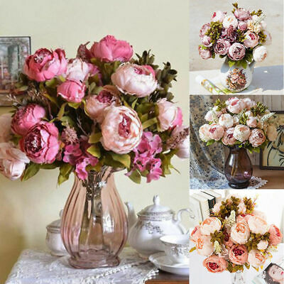 13 Heads Vintage Artificial Fake Peony Silk Flowers Wedding Party Home Decor UK