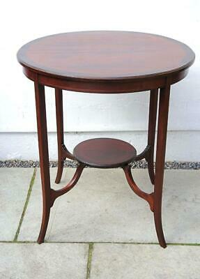 Edwardian inlaid Mahogany 2 tier round occasional table