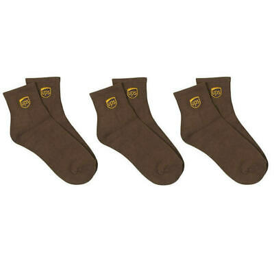3 Pack Pair Ups Logo United Parcel Service Driver Brown Ankle Length Socks