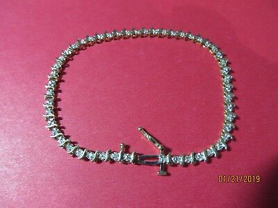 "7 1/2"" Ladies 14K Yellow Gold 1cttw  Diamond Tennis Bracelet"