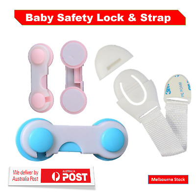 Child Adhesive Kid Baby Safety Drawer Door Lock Cupboard Cabinet Belt Strap AU
