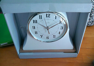 Acctim Walton Style Mantel Clock In Off White Case With Wooden Trim (our ref 2r)