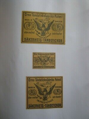 3 Old Swedish Matchbox Labels.