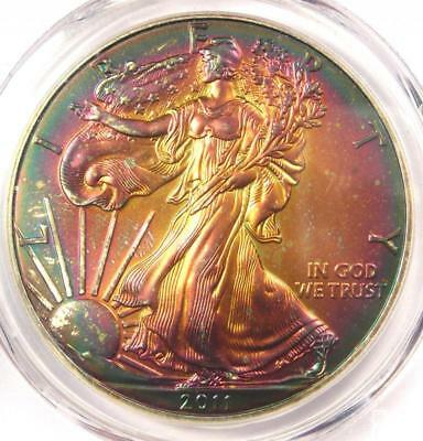 2011 Toned American Silver Eagle Dollar $1 ASE - PCGS MS66 - Rainbow Toning Coin