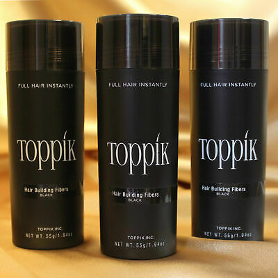3Pcs Toppik Hair Building Fibers 27.5 Grams - Black / Dark Brown Fast Shipping..