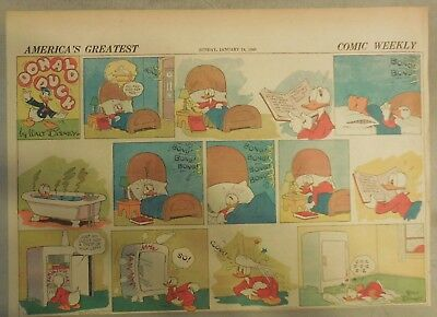 Donald Duck Sunday Page by Walt Disney from 1/14/1940 Half Page Size