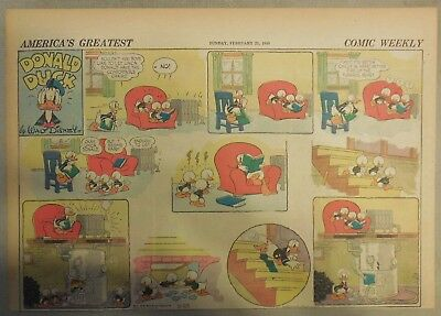 Donald Duck Sunday Page by Walt Disney from 2/25/1940 Half Page Size