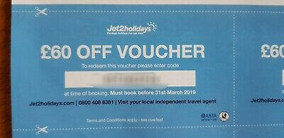 New Jet2Holidays £60 voucher  Valid until 31th March 2019 code