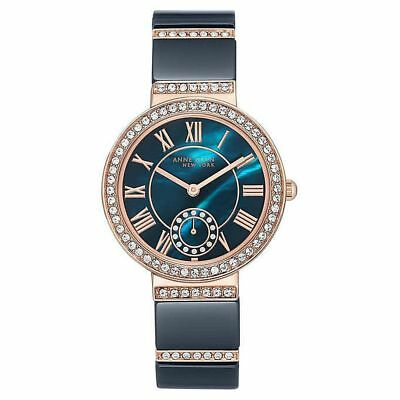 NEW Anne Klein 12/2300NVRG Women's 33mm Rose-Gold-Tone/Navy Crystal Accent Watch