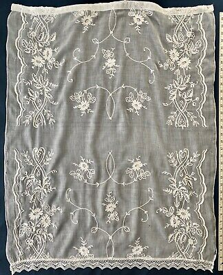 Vintage white tambour embroidered and lace curtain panel