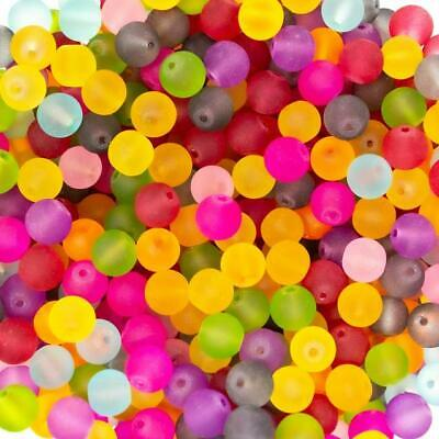 50 100pcs Mixed colour frosted glass round beads 4 6 8 10 12mm jewellery making