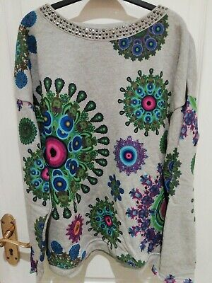 Gorgeous Desigual Grey Sweater/Jumper with attractive print & studded neck Sz L