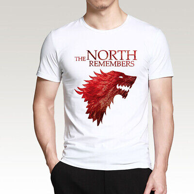 The North Remembers T-Shirt Game Of Thrones House Stark Mens Summer Cotton Shirt
