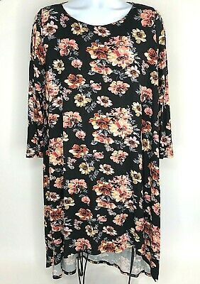 MOA USA Womens 2XL Tunic Shirt Dress High Low Long Sleeve Floral Black NWT
