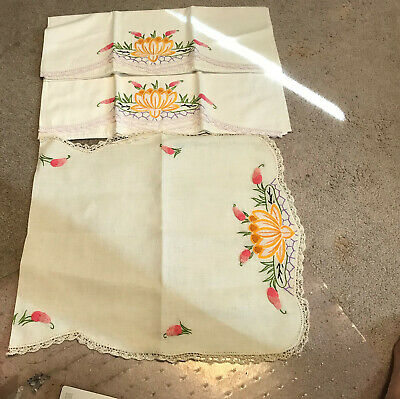 Antique Pristine Embroidered And Crochet Pillowcases With Dresser Scarf
