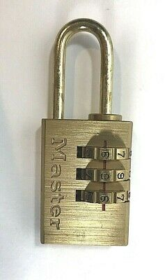 """Master Lock Set-Your-Own Combination Padlock 13/16"""" Luggage Small Lock Brass"""