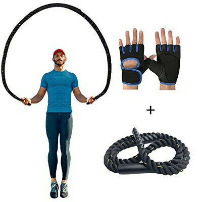Heavy Skipping Jump Rope Crossfit Boxing Weighted Fitness Gym Speed w/Gloves